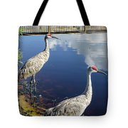 Cranes At The Lake Tote Bag