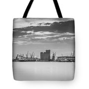 Cranes At The Port Of Thessaloniki Tote Bag