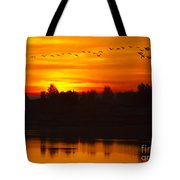 Cranes In The Morn Tote Bag
