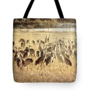 Cranes In The Morning Mist Tote Bag