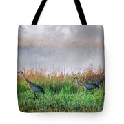 Cranes On Foggy Day Tote Bag