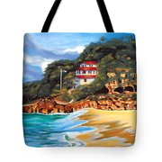 Crash Boat Beach Tote Bag by Milagros Palmieri