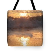 Crashing Wave At Sunrise Tote Bag