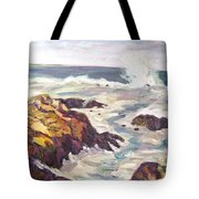 Crashing Wave On Maine Coast Tote Bag