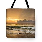 Crashing Waves At Sunrise Tote Bag