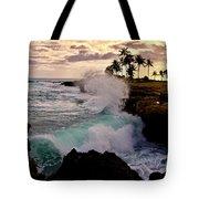 Crashing Waves At Sunset Tote Bag