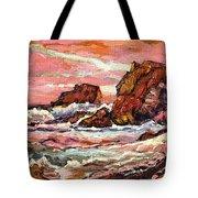 Crashing Waves At Sunset  Majestic Seascape Tote Bag
