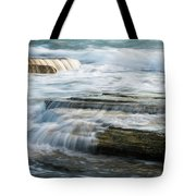 Crashing Waves On Sea Rocks Tote Bag