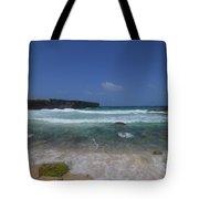 Crashing Waves Rolling Ashore On The Island Of Aruba Tote Bag