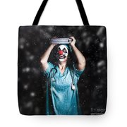 Crazy Doctor Clown Laughing In Rain Tote Bag