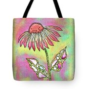 Crazy Flower With Funky Leaves Tote Bag