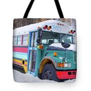 Crazy Painted Old School Bus In The Snow Tote Bag