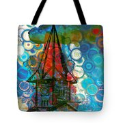 Crazy Red House In The Clouds Whimsy Tote Bag