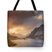 Crazy Sunset In Lofoten Tote Bag