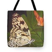 Cream And Orange Butterflies Tote Bag