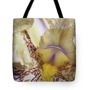 Cream And Purple Iris Tote Bag