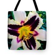 Cream And Purple Lily Macro Tote Bag