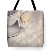 Cream Rose On White China Cup Tote Bag