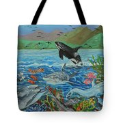 Creation Fifth Day Sea Creatures And Birds Tote Bag
