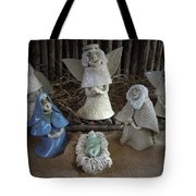 Creche Mary Joseph And Baby Jesus Tote Bag by Nancy Griswold