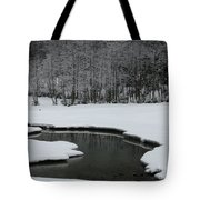 Creek In Snowy Landscape Tote Bag