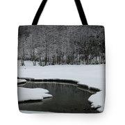 Creek In Snowy Landscape Tote Bag