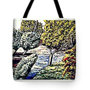 Creek In The Forest Framed Tote Bag