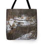 Creek Winding Through The Snow Tote Bag