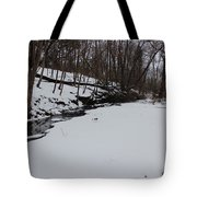 Creeks Battles The Snow And Cold To Remain Flowing. Tote Bag