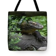 Creeping Komodo Monitor Climbing Under A Fallen Log Tote Bag