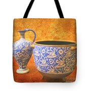 Crete Blue And Gold Jug And Bowl Tote Bag