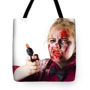 Criminal Zombie Pointing Revolver Tote Bag