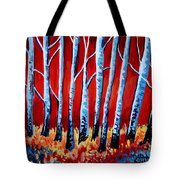 Crimson Birch Trees Tote Bag