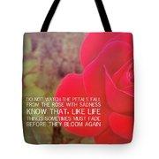 Crimson Velvet Quote Tote Bag