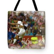 Cristiano Ronaldo Heads The Ball During The Spanish League Footb Tote Bag