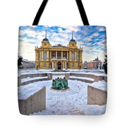 Croatian National Theater In Zagreb Winter View Tote Bag