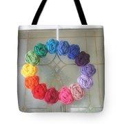 Crochet Rainbow Wreath Tote Bag