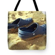 Crocs Shoes On Sandy Point Beach Tote Bag