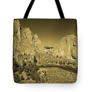 Crooked River At Smith Rock State Park Sepia Tote Bag