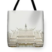 Crop Of A Exquisite And Magnificent Roof Of White Temple Aka Wat Rong Khun In Thailand Tote Bag