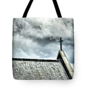 Cross Against An Angry Sky Tote Bag