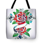 Cross And Roses Tattoo Tote Bag