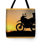 Cross-country Motorbike And Stony, Traveling In Tough Roads Tote Bag