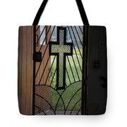 Cross On Church Door Open To Prison Yard Fence With Razor Wire Tote Bag