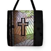 Cross On Church Door Open To Prison Yard Tote Bag