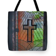 Cross On Church Door Open To Prison Yard With Light Tote Bag