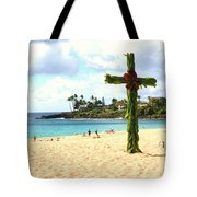 Cross In The Sand Tote Bag