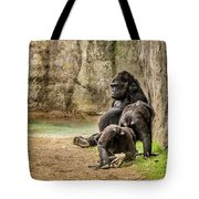 Cross River Pregnant Gorilla And Children Tote Bag
