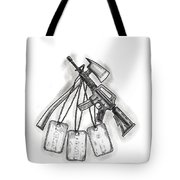 Crossed Fire Ax And M4 Rifle Dog Tags Tattoo Tote Bag