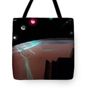 Crossing Over Planet Sky Tote Bag